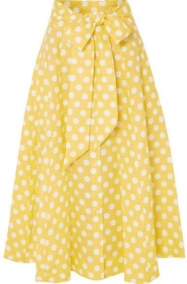 Polka-dot Linen Midi Skirt - Pastel yellow