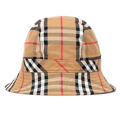 Vintage Check cotton bucket hat