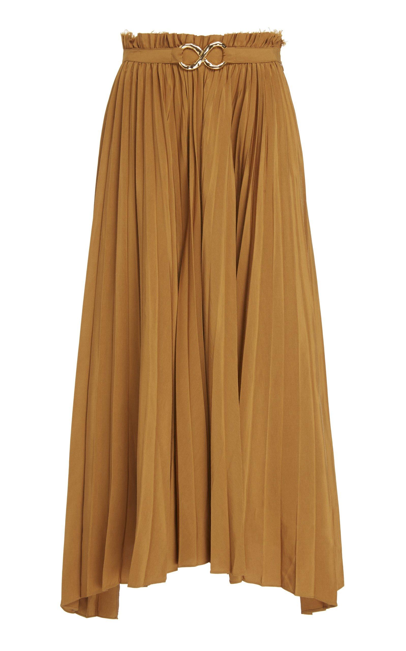 Rejina Pyo Kiera Pleated Satin Midi Skirt Size: 14