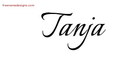 Calligraphic Name Tattoo Designs Tanja Download Free - Free Name Designs