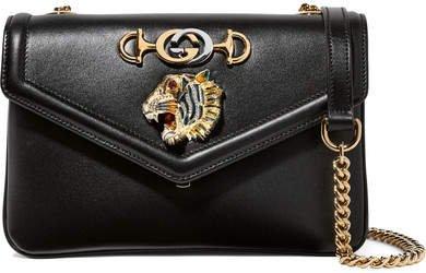 Rajah Small Embellished Leather Shoulder Bag - Black