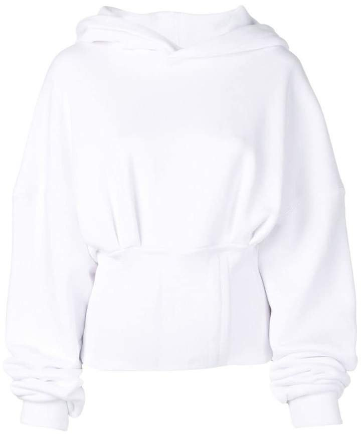cropped ruched hoodie