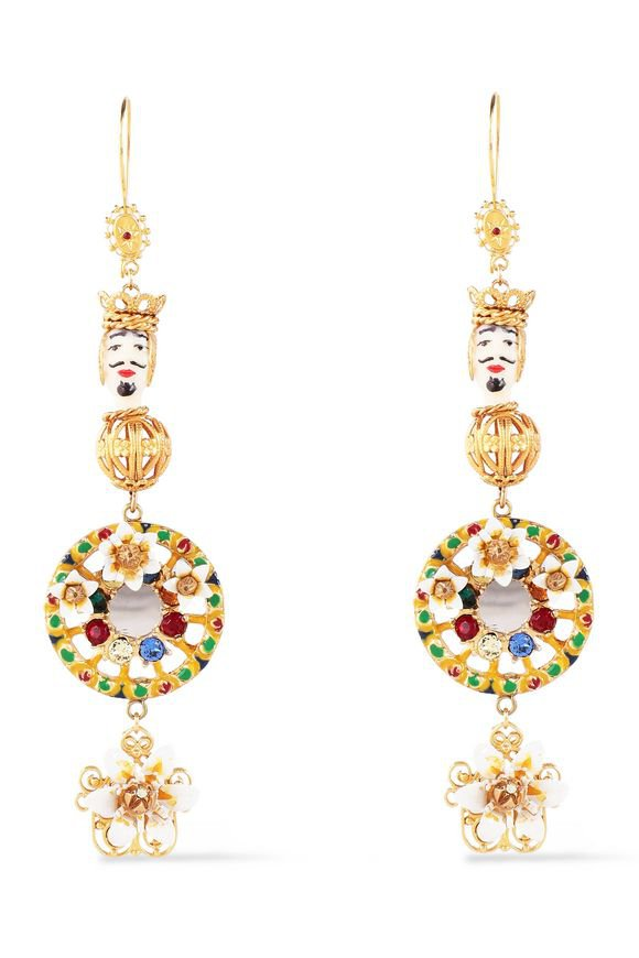 Gold-tone, crystal and resin earrings | DOLCE & GABBANA