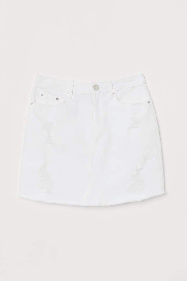 Denim Skirt - White