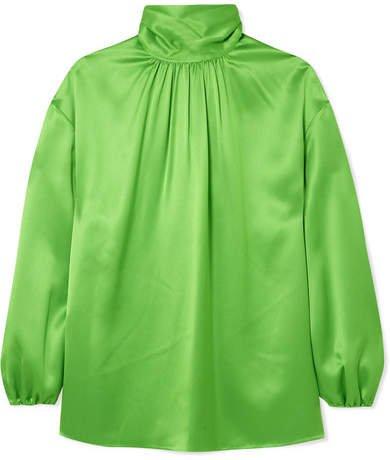 Gathered Neon Silk-satin Blouse - Green