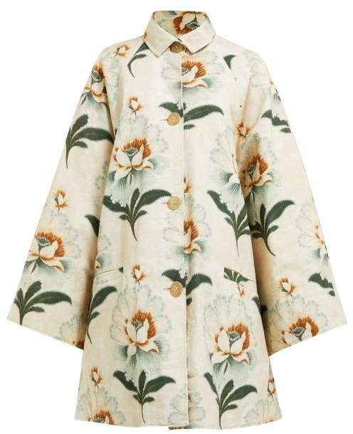 Floral Print Cotton Coat - Womens - Green Print
