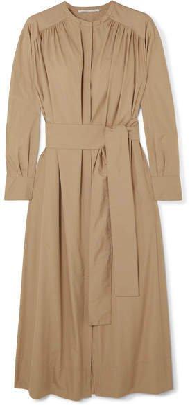 Belted Gathered Cotton-poplin Midi Dress - Beige
