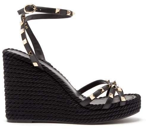 Torchon Rockstud Leather Wedge Sandals - Womens - Black
