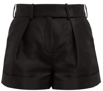 High Waist Cotton Blend Oxford Shorts - Womens - Black