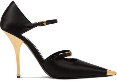 Satin Mary Jane Pumps - Black