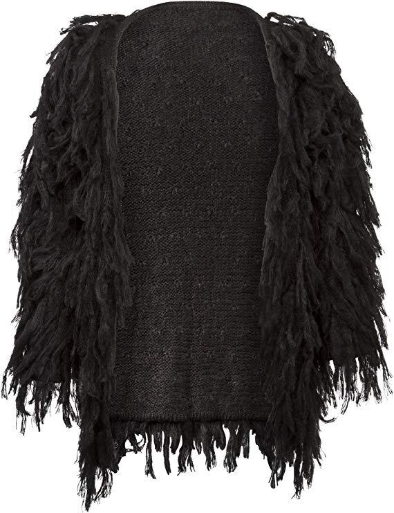 Womens Black Fringe Shaggy Faux Fur Open Jacket Cardigan at Amazon Women's Coats Shop