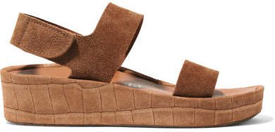 Lacey Croc-effect And Matte Suede Wedge Sandals - Tan
