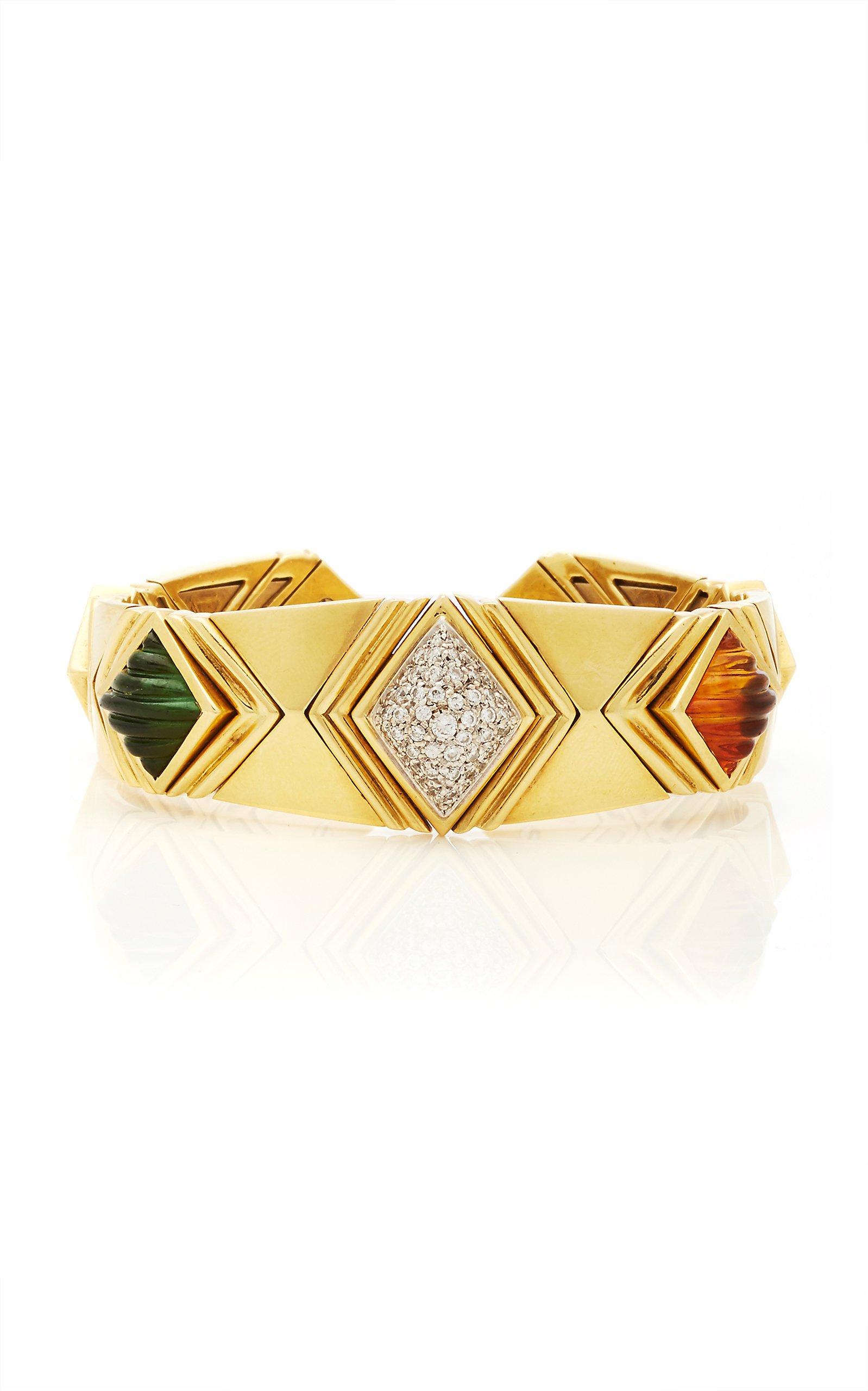 Eleuteri Vintage Bulgari Boules 18K Yellow Gold and Pink Tourmaline Bracelet