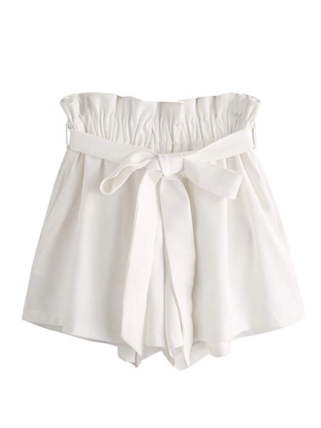 MakeMeChic Women's High Waist Casual Frill Loose Self-Tie Shorts White One Size | Amazon.com