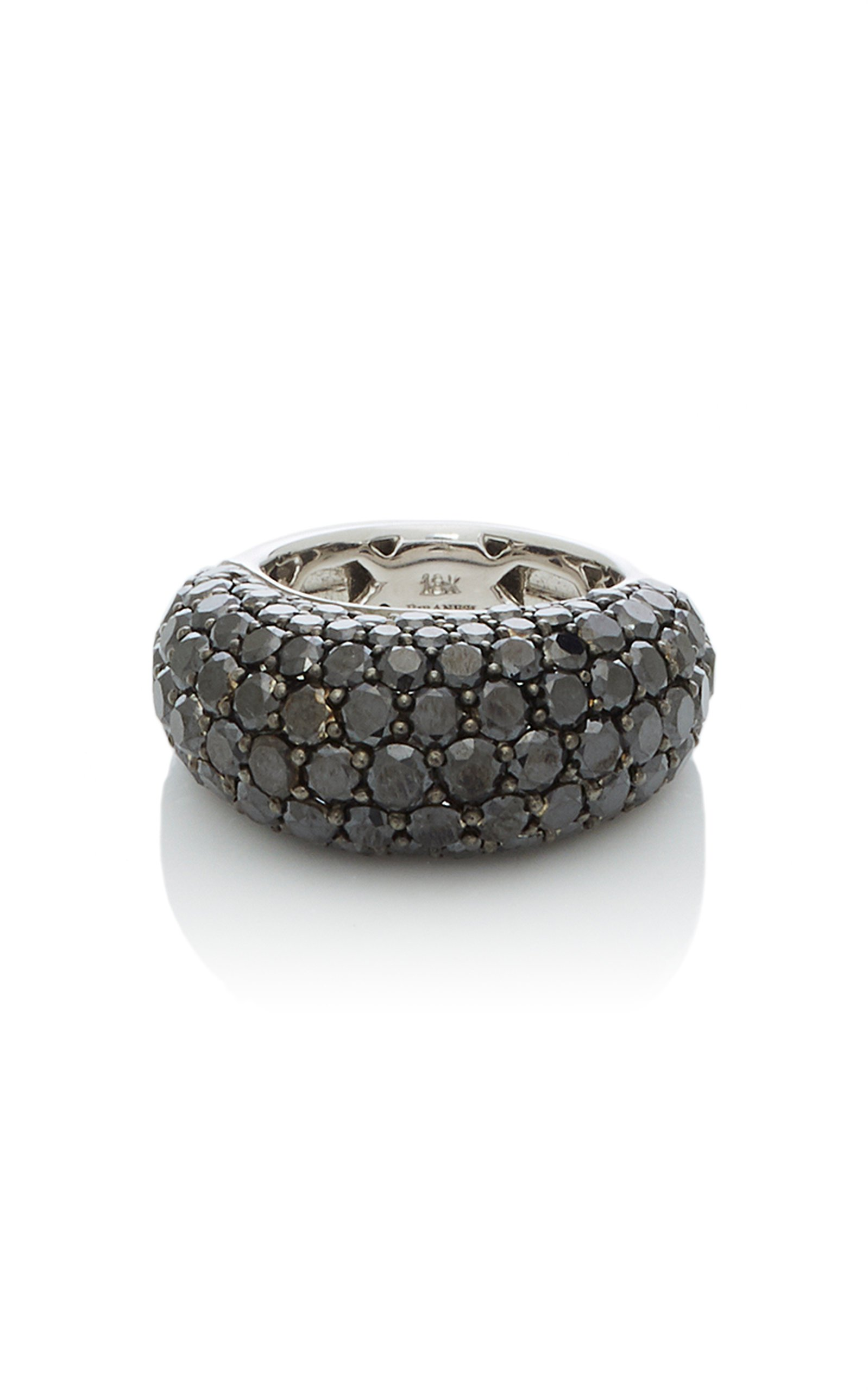 Giovane 18K White Gold Pavé Black Diamond Ring
