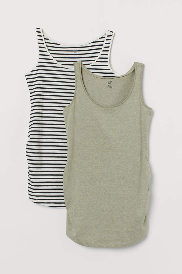 MAMA 2-pack Jersey Tank Tops - White