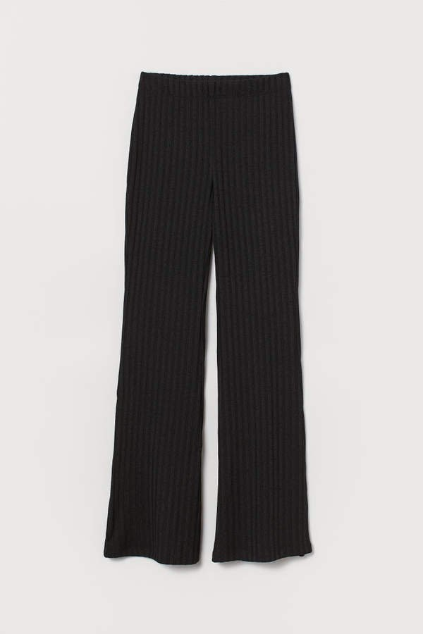 Flared Jersey Pants - Black