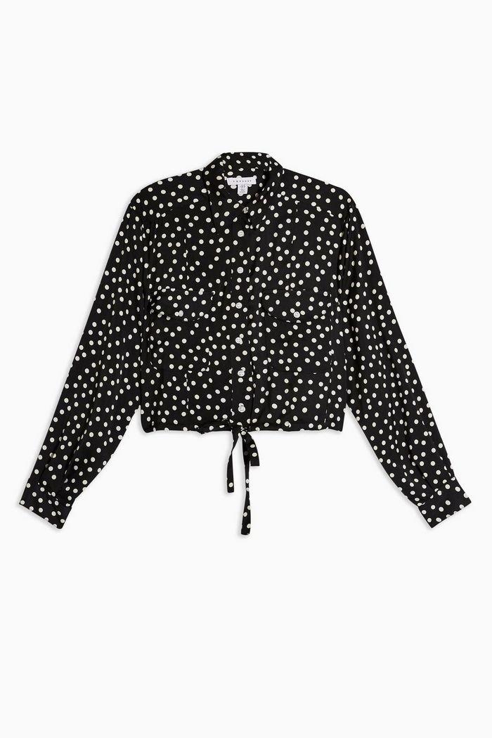 Spot Drawstring Blouse   Topshop black