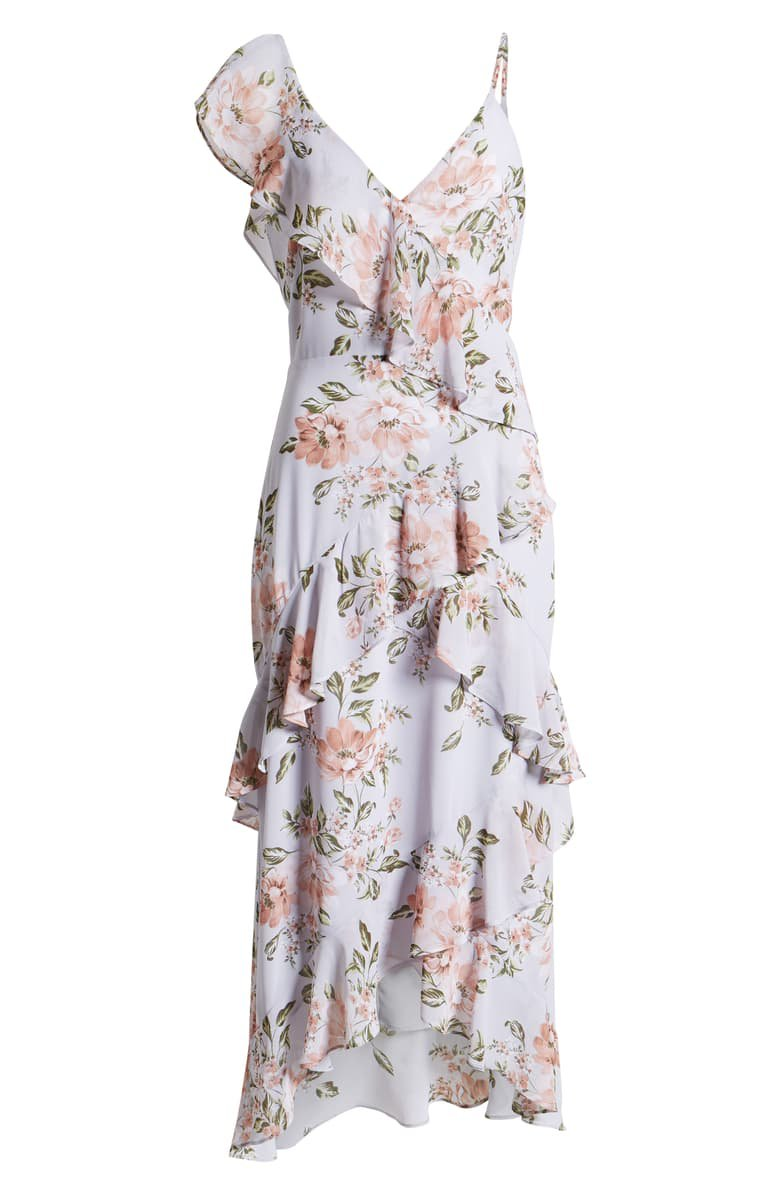 WAYF Morgana Floral Tiered Ruffle Asymmetrical Sleeve Maxi Dress blue