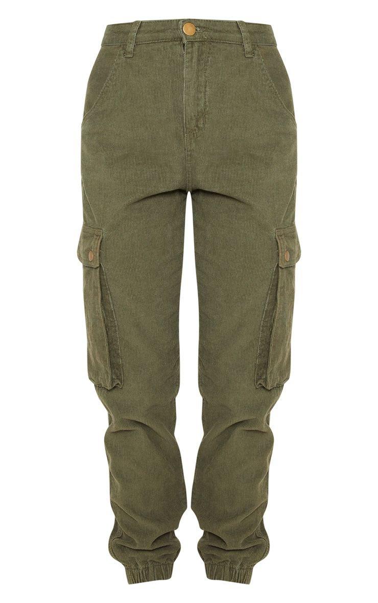 Khaki Cord Cargo Trouser | PrettyLittleThing