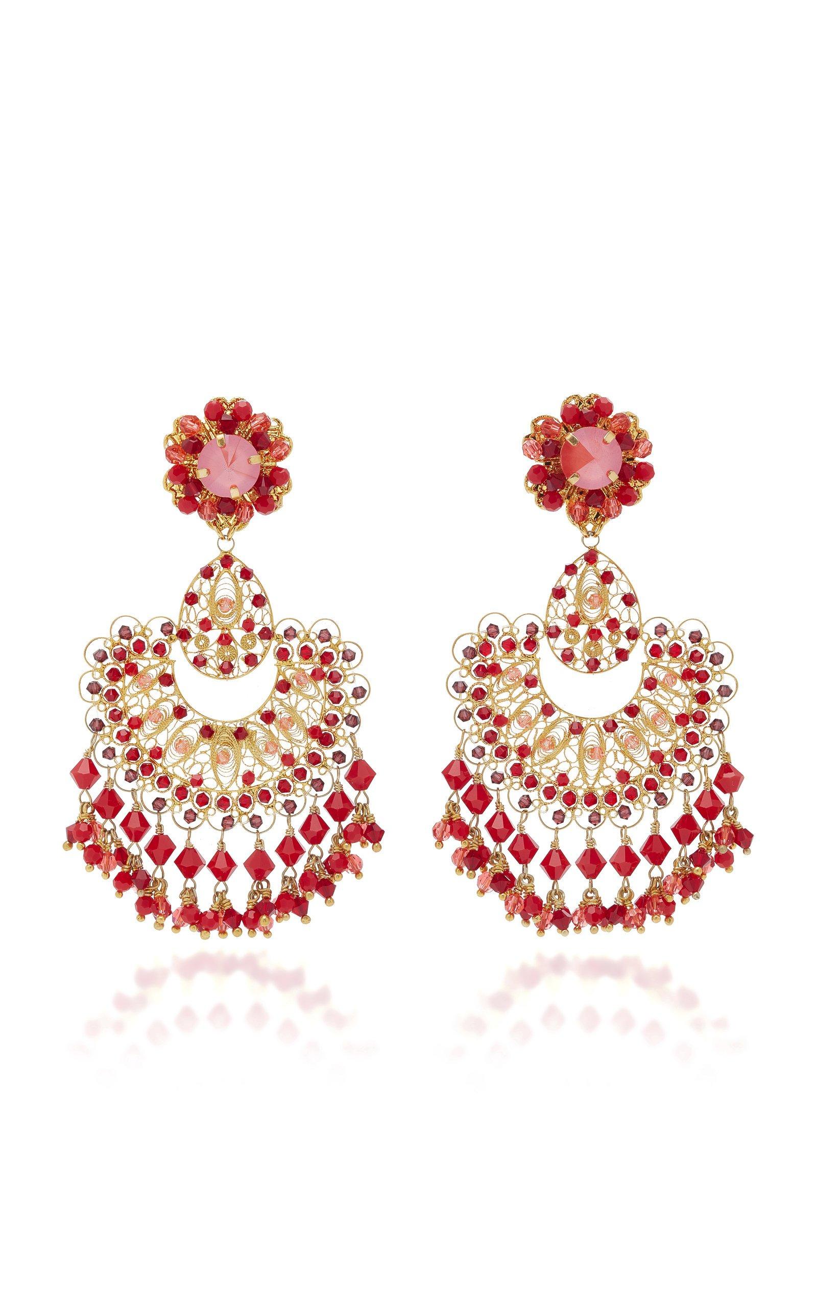 Red Coral Filigree Earring by Silvia Tcherassi   Moda Operandi