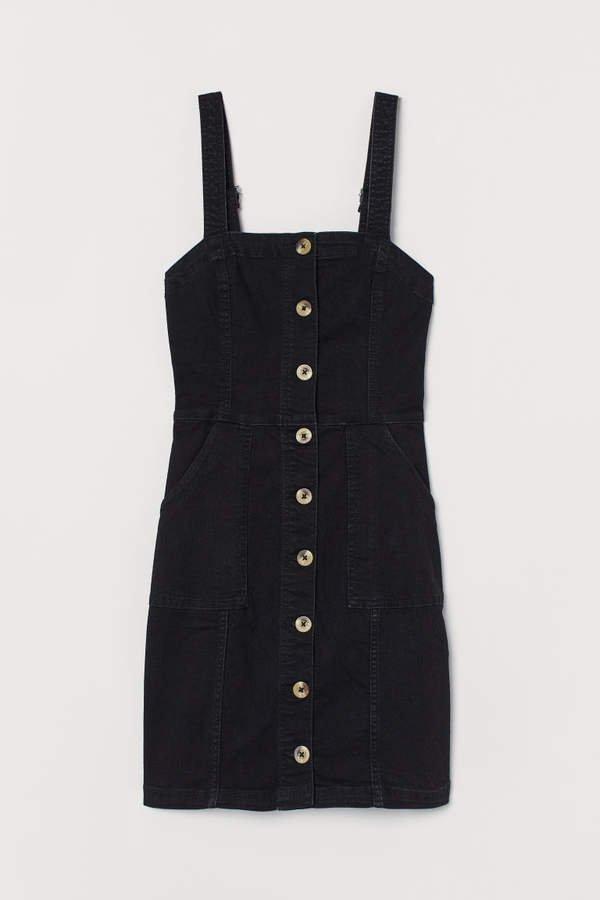 Bib Overall Dress - Black