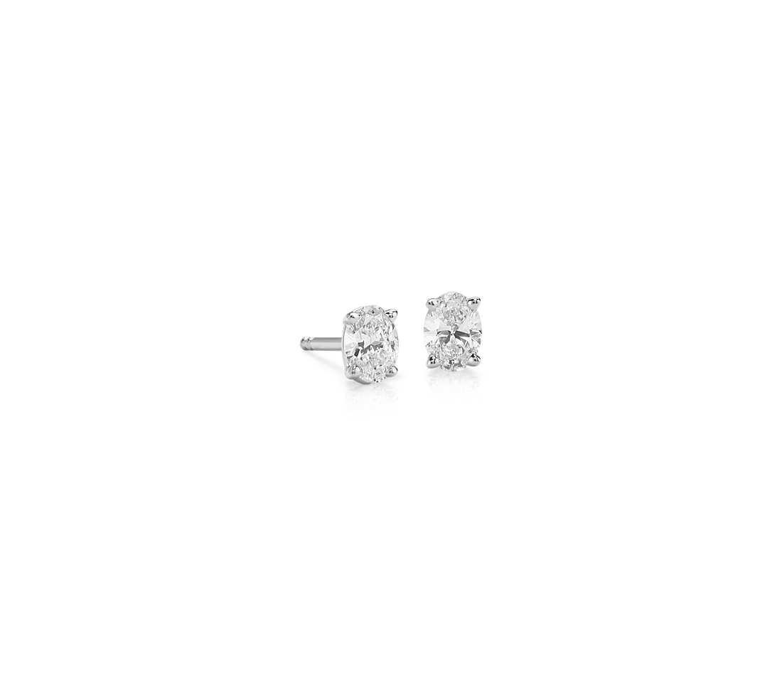 Oval Diamond Stud Earrings in 14k White Gold