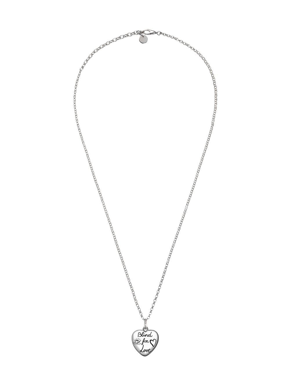 "Metallic Gucci ""Blind For Love"" Necklace In Silver | Farfetch.com"