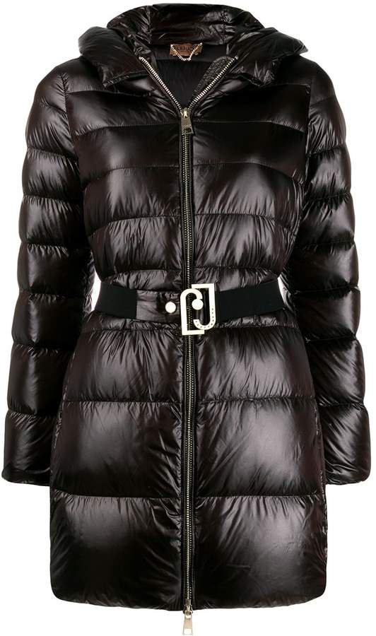 zip-front belted puffer jacket