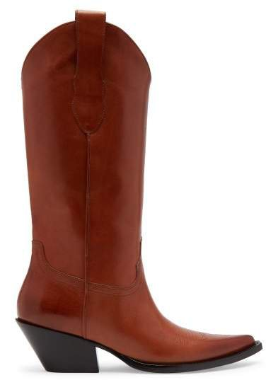 Western Leather Boots - Womens - Tan