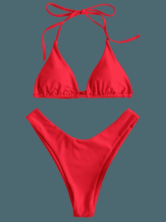High Leg Halter Bikini Set LOVE RED: Bikinis M | ZAFUL