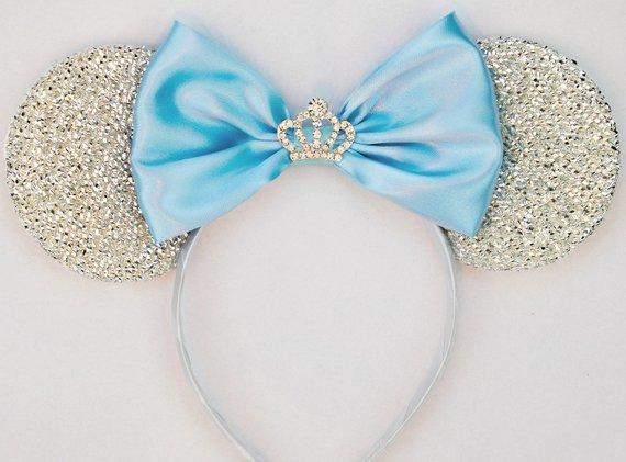 Cinderella Ears Silver Minnie Mouse Ears Headband Crown Tiara
