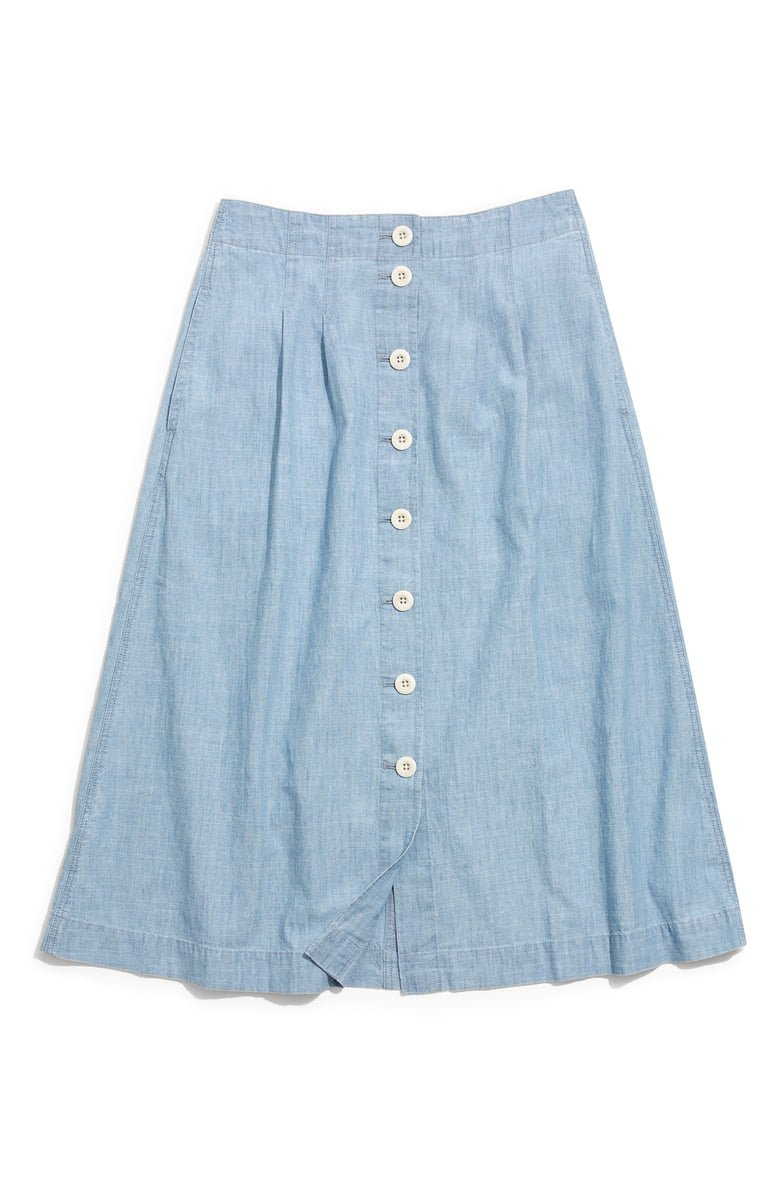 Madewell Chambray Patio Button Front Midi Skirt | Nordstrom