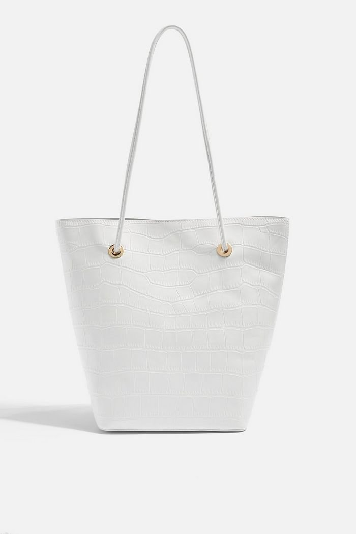 SALT White Crocodile Tote Bag   Topshop