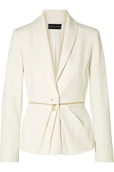 Brandon Maxwell   Zip-embellished pleated twill blazer   NET-A-PORTER.COM