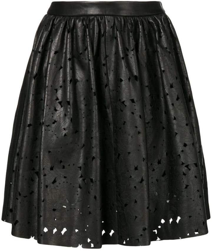 distressed flared skirt