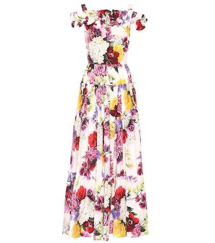 Floral-printed cotton maxi dress