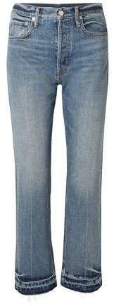 Faded High-rise Straight-leg Jeans