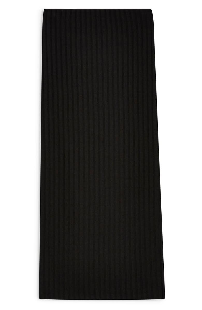 Topshop Ribbed Midi Skirt black