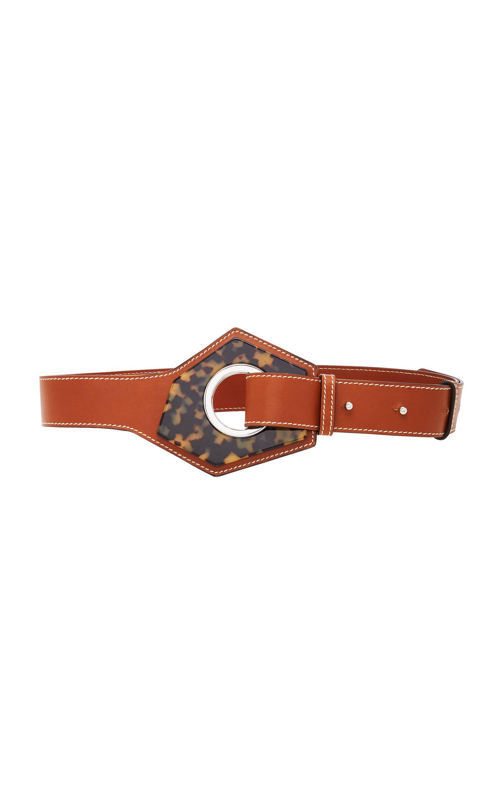 Ganni Leather and Hexagonal Buckle Belt