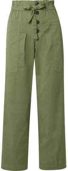 Tula Cotton-blend Twill Straight-leg Pants - Army green