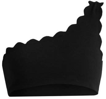 Santa Barbara Scallop Edged Bikini Top - Womens - Black