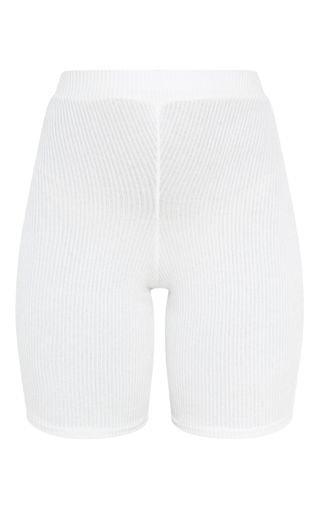 Cream Brushed Rib Cycle Short   Shorts   PrettyLittleThing