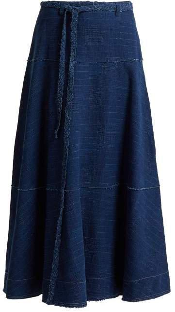 Leila A Line Denim Skirt - Womens - Indigo