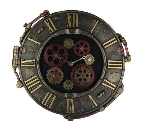 Steampunk Bronze Finish Rivet Plate Wall Clock With Moving Gears | eBay
