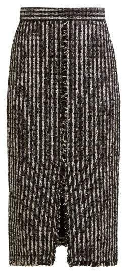 Fringed Tweed Pencil Skirt - Womens - Black White