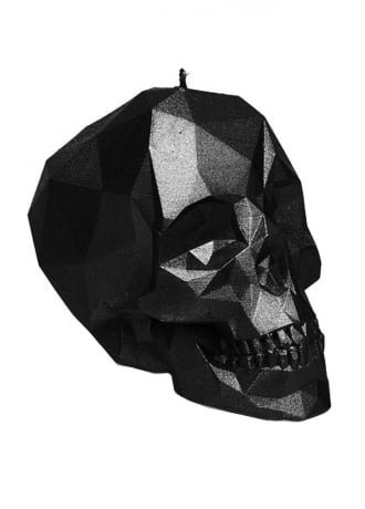 Small Metallic Black Poly-Skull Candle