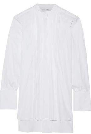 Oversized Pintucked Cotton-poplin Shirt