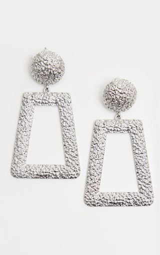 Silver Textured Square Drop Earrings   PrettyLittleThing