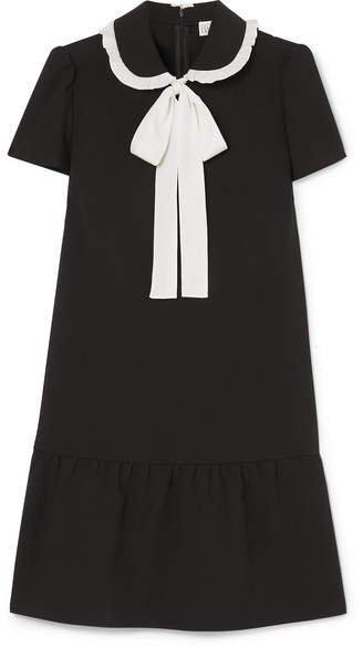 Pussy-bow Ruffled Stretch-crepe De Chine Mini Dress - Black